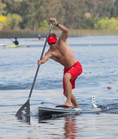 """Jim Terrell using the split stance (or """"Plunge Stroke"""")  