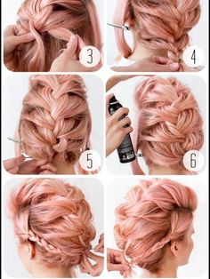 What gets better than a pink french braid updo? Nothing. Absolutely nothing! Inspiration found on bloomdotcom.