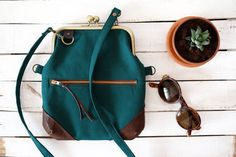Dark Green Fold Over Frame Clutch. Cotton and Leather Crossbody Bag