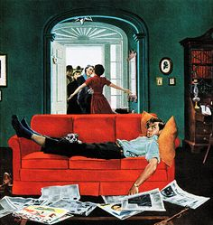 Sunday Visitors, art by George Hughes. Detail from February 6, 1954 Saturday Evening Post cover.