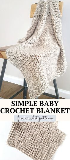 Crochet Baby Blanket Free Pattern, Easy Crochet Blanket, Crochet For Beginners Blanket, Easy Baby Blanket, Baby Blankets To Crochet, Easy Crochet Baby Blankets, Crochet Blanket Stitches, Crocheted Baby Afghans, Free Crochet Blanket Patterns Easy