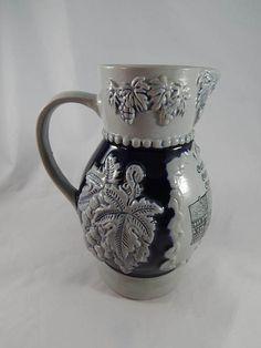 Vintage German Stoneware Wine Jug Pitcher  Cobalt Blue Large