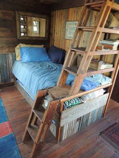 rustic small cabin plans......really like the hinged ladder & shelves & loft