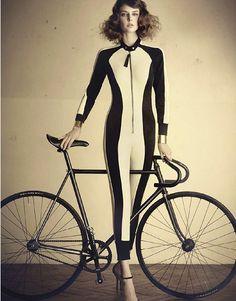 Auguste Abeliunaite photographed by Nicolas Valois for French Elle. http://findgoodstoday.com/bikes