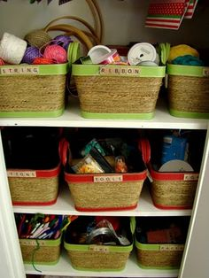 Storage baskets were labeled with Scrabble letters!