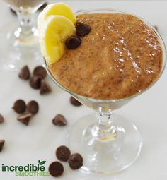 vegan chocolate chia seed pudding  This recipe makes a single 147-calorie serving.  Ingredients: 1/2 cup unsweetened almond milk 1/2 banana, peeled 2 tablespoons chia seeds The vanilla from 1 vanilla bean, (or 1/4 teaspoon pure vanilla extract) 1 teaspoon cacao powder