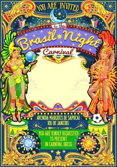 Buy Rio Carnival Poster Template Brazil Carnaval Mask Show Parade by aurielaki on GraphicRiver. Brazil night Show Carnival Party Parade masquerade invitation card templat. Trinidad Carnival, Rio Carnival, Carnival Themes, Carnival Masks, Carnival Costumes, Party Themes, Party Ideas, Carnival Floats, Carnival Themed Party