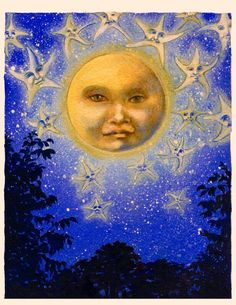 """At first I was going to save this to my """"Beautiful Images"""" folder, but there is just something vaguely disturbing about the moon's and the stars' faces..."""