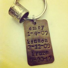 a56aa0025b16ec Duck Hunter or Dad's Keychain with Anniversary & Birthdays - Hand Stamped