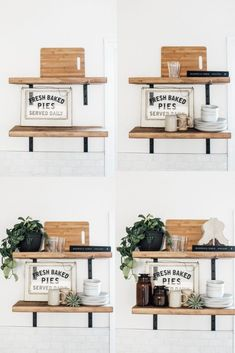 How to Style Open Shelving In Six Easy Steps - estante Kitchen Shelf Decor, Kitchen Shelves, Kitchen Worktop, Kitchen Ideas, Dining Room Shelves, Kitchen Board, Ikea Shelves, Diy Wall Shelves, Shelf Design