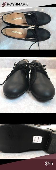 """Sydney Brown Derby Shoe I love these shoes and just bought them on Posh, but unfortunately they are a bit too tight for me :( Sydney Brown is a luxury vegan brand which is hand made in the USA. There is a similar style on the website currently for $240. To my knowledge they have never been worn, the soles are in almost perfect condition. Dimensions are approximately 9.25""""x3"""". They are a size 37, and I think they fit a 6.5 or smaller end of the 7 size. The posh shoe size converter is a little…"""