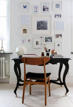 workspace, chair, table, lamp
