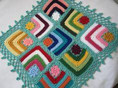 Granny Square American girl doll blanket...Knitted by GalyaKireva, $40.00