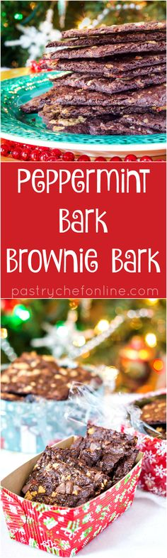 Peppermint Bark Brownie Bark is brownie bark with peppermint bark baked into it and on top. The base recipe is an excellent copycat Brownie Brittle recipe, and you can make all sorts of variations to recreate your Sheila G favorites! Enjoy! | pastrychefonline.com