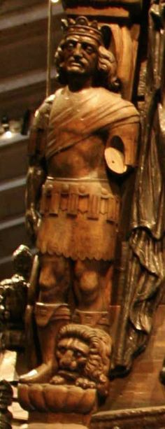 Hand carved royalty - with his crown - is this King Gustav ll Adolf? On the stern of the Swedish warship Vasa.