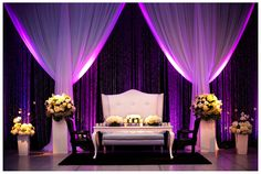 Honor table with beautiful furniture, flowers, draping and lighting at a Montreal Wedding at the Windsor Station - Reception venue/hall decoration - http://badgerphotography.ca