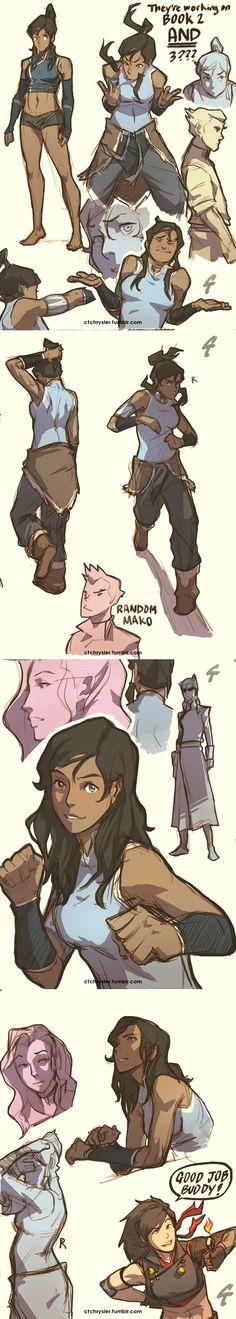 Legend of Korra artwork doodles by http://ctchrysler.tumblr.com/post/50795207637/random-lok-mainly-korra-doodles-the-ones