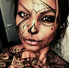 Girl Face Painting, Chicano Art, Skull Makeup, Halloween Face Makeup, Creative Ideas, Food Ideas, Tattoos, Big, Girls