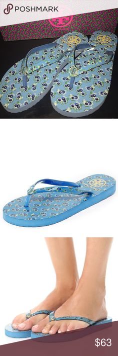 NEW🎈TORY BURCH FLIP FLOPS 💥NO TRADES💥 Brand new Floral blue flip flops sandal slippers. Comes with box.  Ships asap Tory Burch Shoes Sandals