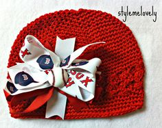 Boston Red Sox Baby Girl Boutique Bow Crocheted by StyleMeLovely00, $12.00