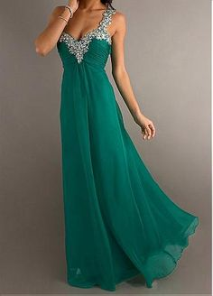 [123.99] Fabulous Chiffon A-line Empire Waist Long One Shoulder Beaded Formal Gown - Dressilyme.com. Would probably like this in many colors.