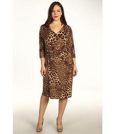 Anne Klein Plus Plus Size Leopard Print V-Neck Dress