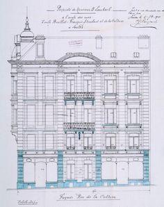 Rue Émile Bouilliot 3-1 – rue Franz Merjay 60, façade vers la rue Franz Merjay, ACI/Urb. 110-1 (1911).