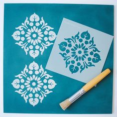 This small scale version of the Kota Stencil is perfect for smaller areas and works beautifully as a repeating design. Use this modern stencil on f. Stencil Fabric, Stencil Patterns, Stencil Diy, Stencil Designs, Stenciling, Wall Fabric, Diy Wall Painting, Stencil Painting, Fabric Painting