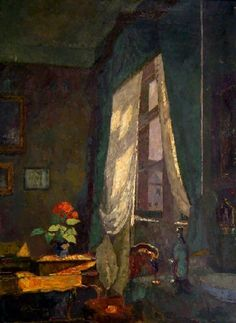 Interior. View in a study with secretary. Right window, falls through the warm sun, August Von Brandis. Germany (1862 - 1947)