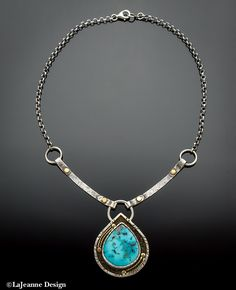 Thunder Mountain Turquoise and Opal sterling silver necklace