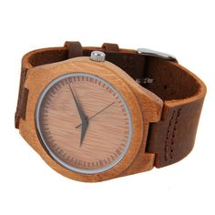 Luxury Bamboo Wood Watch Quartz PU Leather Wristwatches New Hot Sellin Leather Case, Pu Leather, Wooden Watch, Bamboo, Quartz, Steel, Band, Watches, Luxury