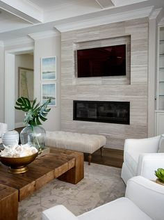 The fireplace design ideas are not something easy to find. However, the one that fit small living room is not easy to find. Fireplace Mantle, Fireplace Design, Modern Fireplace, House Tiles, Room Interior Design, Interior Ideas, Family Room Design, Small Living Rooms, Home Decor Trends