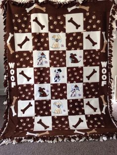 Puppy Dogs and Bones Blanket by UniqueFleeceBlankets on Etsy