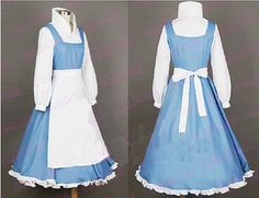 Beauty and The Beast Princess Belle Blue Maid Dress Made Coplay Costume Hot