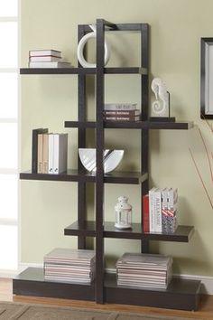Cappuccino Asymmetrical Bookcase