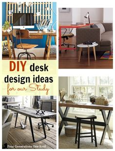 I am about to embark on a DIY desk for our new study that will be suitable for adults and children. I am leaning towards a saw horse style. That should be easy enough to make right? I have rounded up some as inspiration that I think will work. Anyone make a saw horse style desk before? @Four Generations One Roof