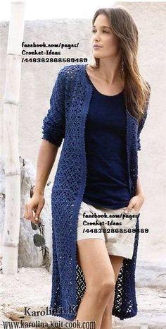Pull Crochet, Gilet Crochet, Mode Crochet, Crochet Cardigan Pattern, Crochet Jacket, Knitted Coat, Crochet Blouse, Crochet Poncho, Sweater Patterns