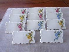 Wedding Place Cards , Shafford Porcelain Place Setting Cards , Roses Bone China , - set of 11.