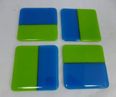 Fused Glass Coasters in Fun Turquoise and Zingy by SugarLipsGlass