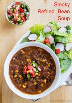 Vegan Smoky Refried Bean Soup: This quick and easy refried bean soup ...