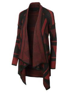 LE3NO Womens Oversized Draped Aztec Print Knit Cardigan