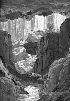 Gustave Dore collage textile print. Landscape gothic. Black and white. Sophie Pollard