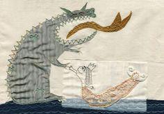 ¿Amigos? Ilustración textil. Embroidery. Valeria Gallo.