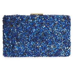 Women's Natasha Couture Chips Embellished Box Clutch ($68) ❤ liked on Polyvore featuring bags, handbags, clutches, natasha purse, embellished purse, blue handbags, chain handle handbags and natasha handbags