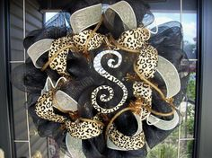 leopard wreath omg it already has an S!!! I need this!!!!!!!!