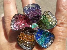 Colorful flower stretchy ring! Love it!