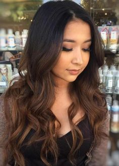 Long Black Hair With Brown Balayage