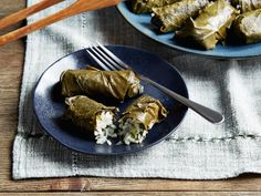 Dolmades (Stuffed Grape Leaves) Recipe Tyler Florence Food Network - Food and drink Florence Food, Tyler Florence, Healthy Appetizers, Appetizer Recipes, Healthy Meals, Grape Leaves Recipe, Food Network Recipes, Cooking Recipes, Stuffed Grape Leaves