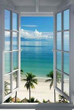 Large Removable Beach Sea Window Decal Wall Sticker Home Decor Exotic Beach View Art Wallpaper Mural Deco Panel, Window Poster, Window View, Window Wall, Open Window, Window Decals, Photos Voyages, Belle Photo, Beautiful Beaches
