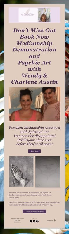 Don't Miss Out Book Now Mediumship Demonstration and Psychic Art with Wendy & Charlene Austin Upcoming Events, Disappointed, Rsvp, Spirituality, Books, Art, Livros, Spiritual, Livres